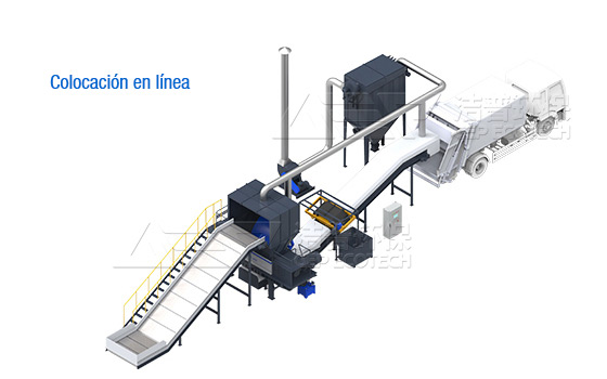 Proceso tecnológico de trituración de residuos voluminosos y sistema de eliminación
